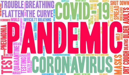 Pandemic word cloud on a white background.