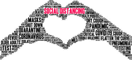 Social Distancing word cloud on a white background. Ilustração