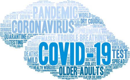 COVID-19 word cloud on a white background. Reklamní fotografie - 144120261