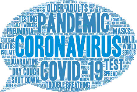 Coronavirus word cloud on a white background. Archivio Fotografico - 144121490