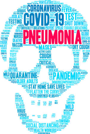 Pneumonia from Coronavirus word cloud on a white background. Reklamní fotografie - 144195496