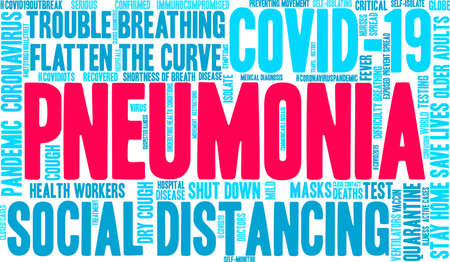 Pneumonia from Coronavirus word cloud on a white background.