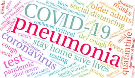 Pneumonia from Coronavirus word cloud on a white background. Archivio Fotografico - 144195502