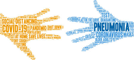 Pneumonia from Coronavirus word cloud on a white background. Archivio Fotografico - 144195505