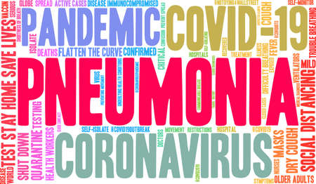 Pneumonia from Coronavirus word cloud on a white background. Archivio Fotografico - 144195507