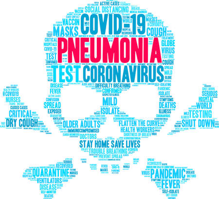 Pneumonia from Coronavirus word cloud on a white background. Ilustração