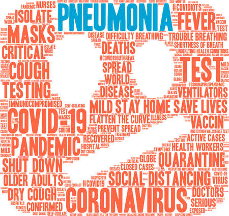 Pneumonia from Coronavirus word cloud on a white background. Archivio Fotografico - 144195531