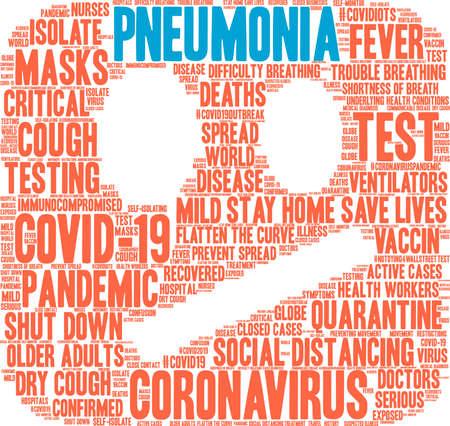 Pneumonia from Coronavirus word cloud on a white background. Vettoriali