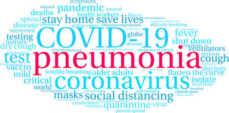 Pneumonia from Coronavirus word cloud on a white background. Archivio Fotografico - 144195524