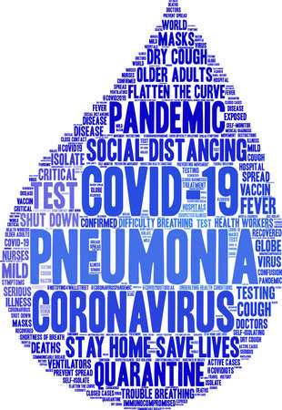 Pneumonia from Coronavirus word cloud on a white background. Archivio Fotografico - 144195526