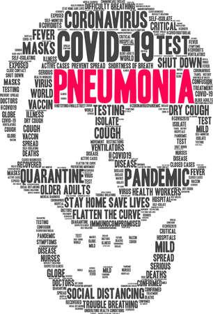 Pneumonia from Coronavirus word cloud on a white background. Archivio Fotografico - 144195542