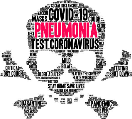 Pneumonia from Coronavirus word cloud on a white background. Archivio Fotografico - 144195544