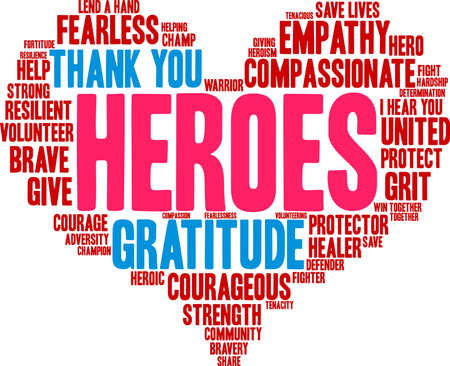 Heroes word cloud on a white background. Archivio Fotografico - 145206465