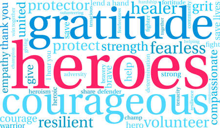 Heroes word cloud on a white background. Archivio Fotografico - 145206471