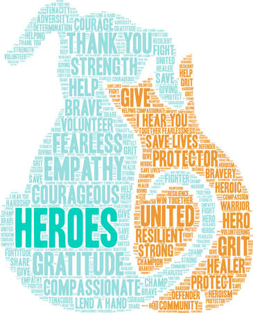 Heroes word cloud on a white background. Archivio Fotografico - 145206508