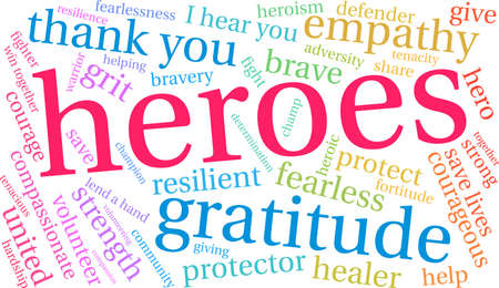 Heroes word cloud on a white background. Vettoriali