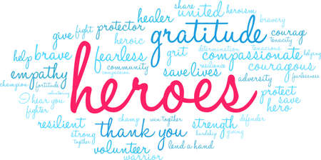 Heroes word cloud on a white background. Illustration