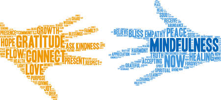 Mindfulness word cloud on a white background. Archivio Fotografico - 145206548