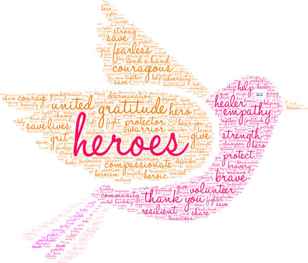 Heroes word cloud on a white background. 向量圖像