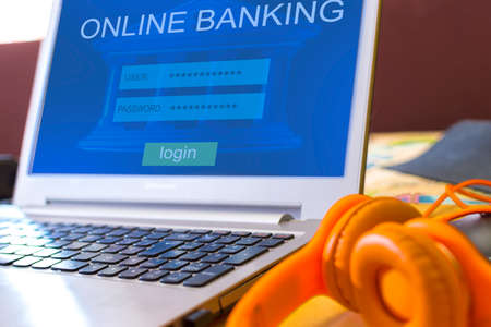 Internet online banking payment concept. Laptop with the connection screen to online banking.