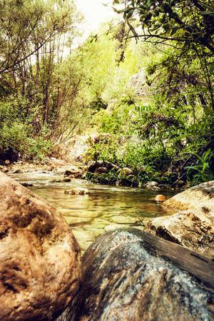 Francol? river passing between mountains near the municipality of La Riba in Tarragona, Spain.
