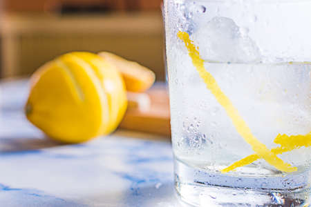 Gintonic cocktail in a glass with ice and lemon, with the ingredients aside. Stok Fotoğraf