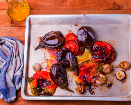 Food from the garden cooked in the oven with olive oil.