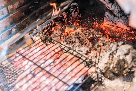 Cooking meat on grills over the coals