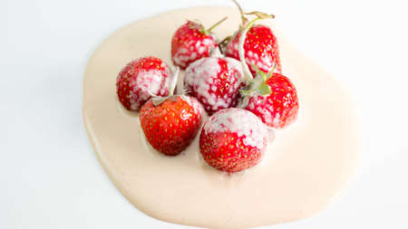 Ripe strawberries mixed with yogurt, juicy and ripe, fruit smoothie.