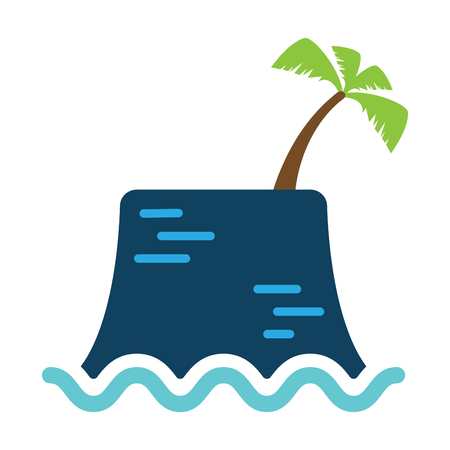 Vector icon of lonely island and coconut tree in the middle of wavy ocean Çizim