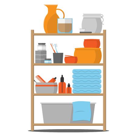 A set of vector icons displays bathroom shelf with bathware.