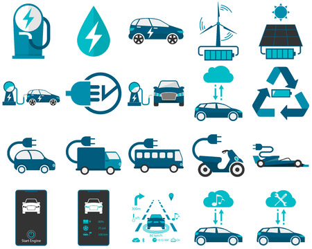 Vector illustrations of various kinds of smart car, electric car, and green energy. Illustration