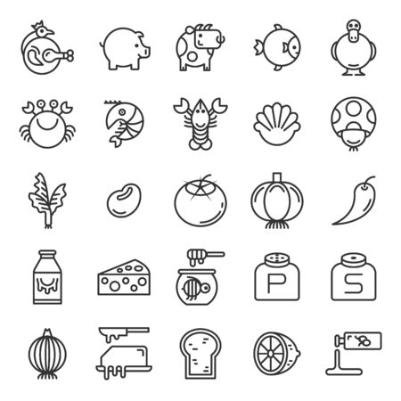 Food ingredients and seasonings outline icon set of 25 icons. Icons had been designed on perfect grid layout 64x64 px. Strokes used 2 px and editable strokes.