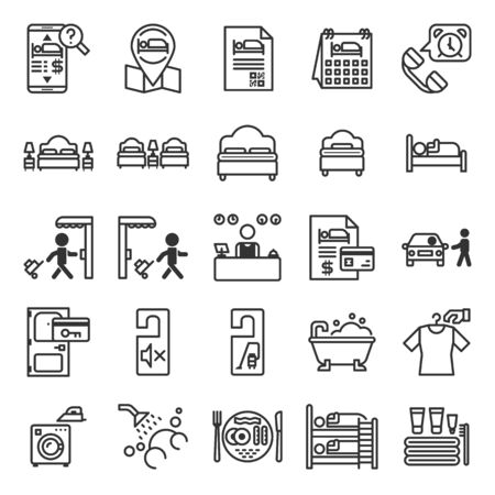 Hotel Information System outline icon set of 25 icons. Icons had been designed on perfect grid layout 64x64 px. Strokes used 2 px and editable strokes.