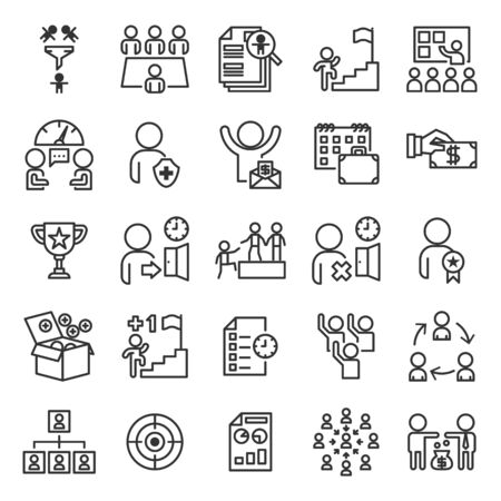 Human Resources Information System or HR outline icon set of 25 icons. Icons had been designed on perfect grid layout 64x64 px. Strokes used 2 px and editable strokes.  イラスト・ベクター素材