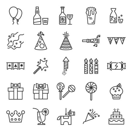 Party and celebrating time outline icon set of 25 icons. Icons had been designed on perfect grid layout 64x64 px. Strokes used 2 px and editable strokes.