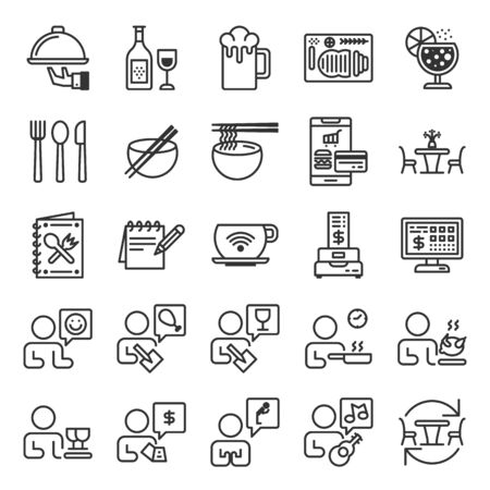 Restaurant information system outline icon set of 25 icons. Icons had been designed on perfect grid layout 64x64 px. Strokes used 2 px and editable strokes.