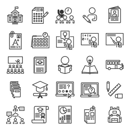 School Management System outline icon set of 25 icons. Icons had been designed on perfect grid layout 64x64 px. Strokes used 2 px and editable strokes.