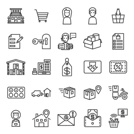 Store Management System outline icon set of 25 icons. Icons had been designed on perfect grid layout 64x64 px. Strokes used 2 px and editable strokes.  イラスト・ベクター素材
