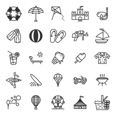 Summer season and holiday outline icon set of 25 icons. Icons had been designed on perfect grid layout 64x64 px. Strokes used 2 px and editable strokes.