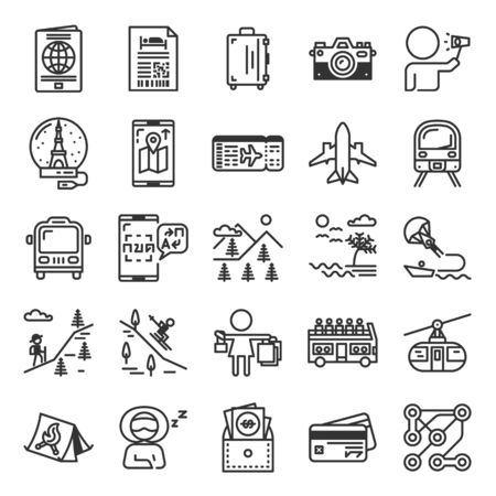 Traveling and Holiday outline icon set of 25 icons. Icons had been designed on perfect grid layout 64x64 px. Strokes used 2 px and editable strokes.