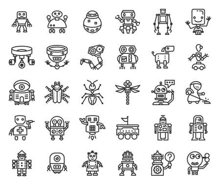 Robot and AI outline icon set of 30 icons. Icons had been designed on perfect grid layout 64x64 px. Strokes are 2px and editable.