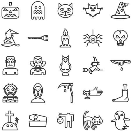 Halloween festival outline icon set of 25 icons. Icons had been designed on perfect grid layout 64x64 px. Editable vector shapes in dark grey strokes.