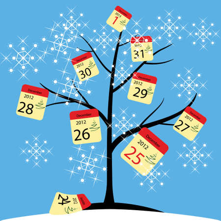 months of the year: tree Calendar Illustration