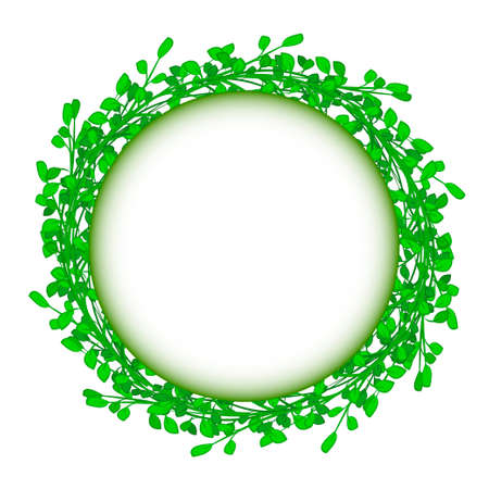 whit: abstract green grass circle frame vector whit background