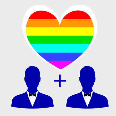 Gay couple, gay love icons set Illustration