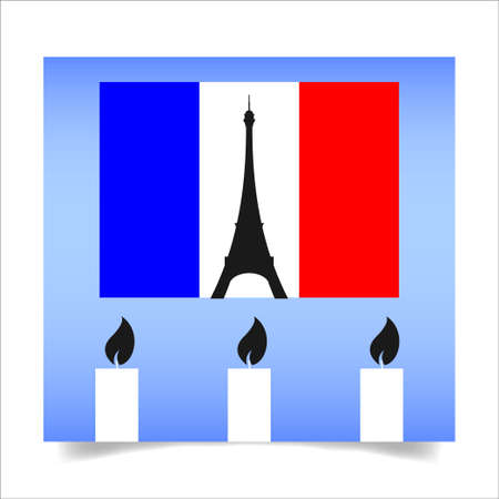 friday 13th: People from around the world shares images with sign pray for paris- after a series of coordinated terror attacks across Paris. Vector illustration. Illustration