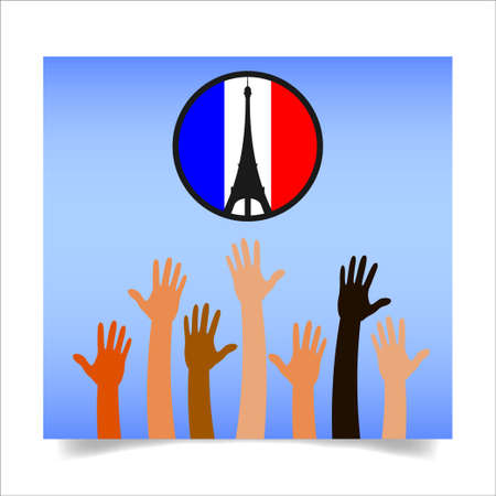 coordinated: People from around the world shares images with sign pray for paris- after a series of coordinated terror attacks across Paris. Vector illustration. Illustration