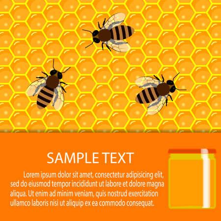 food production: Honey natural healthy food production. Apiary vector symbols. Illustration