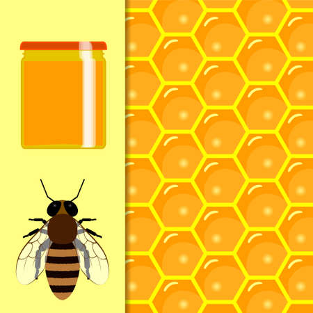 apiary: Honey natural healthy food production. Apiary vector symbols. Illustration